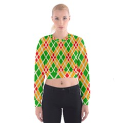 Chevron Wave Green Red Orange Line Women s Cropped Sweatshirt