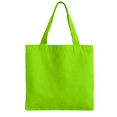 Green Color Zipper Grocery Tote Bag