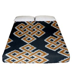 Geometric Cut Velvet Drapery Upholstery Fabric Fitted Sheet (queen Size) by Jojostore