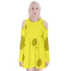 Hole Cheese Yellow Velvet Long Sleeve Shoulder Cutout Dress by Jojostore