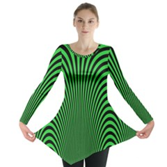 Green Optical Illusion Long Sleeve Tunic
