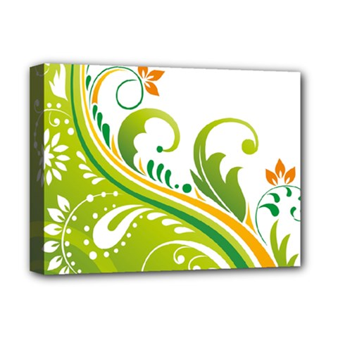 Leaf Flower Green Floral Deluxe Canvas 16  X 12   by Jojostore