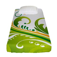 Leaf Flower Green Floral Fitted Sheet (single Size)