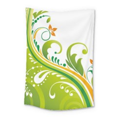 Leaf Flower Green Floral Small Tapestry by Jojostore