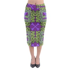Paris Eiffel Tower Green Purple Midi Pencil Skirt
