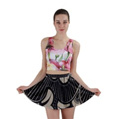 Printed Fan Fabric Mini Skirt by Jojostore