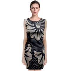 Printed Fan Fabric Sleeveless Velvet Midi Dress by Jojostore