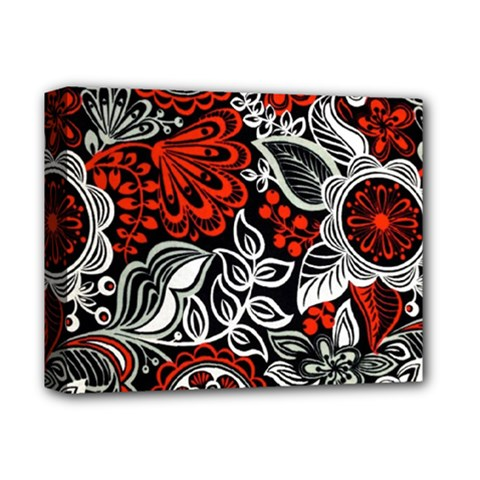 Red Batik Flower Deluxe Canvas 14  X 11  by Jojostore