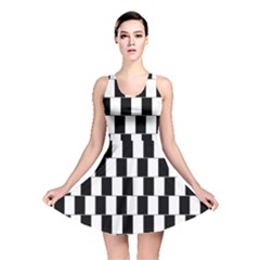 Wallpaper Line Black White Motion Optical Illusion Reversible Skater Dress