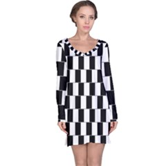 Wallpaper Line Black White Motion Optical Illusion Long Sleeve Nightdress by Jojostore