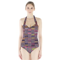 Strip Woven Cloth Color Halter Swimsuit