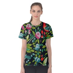 Tropical And Tropical Leaves Bird Women s Cotton Tee