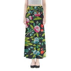 Tropical And Tropical Leaves Bird Maxi Skirts