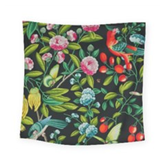 Tropical And Tropical Leaves Bird Square Tapestry (small)