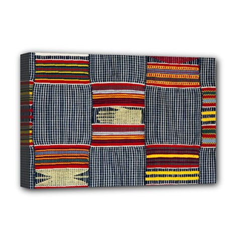Strip Woven Cloth Deluxe Canvas 18  X 12   by Jojostore