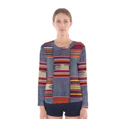 Strip Woven Cloth Women s Long Sleeve Tee by Jojostore