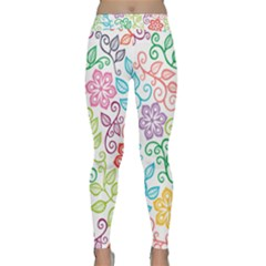 Texture Flowers Floral Seamless Classic Yoga Leggings