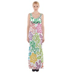 Texture Flowers Floral Seamless Maxi Thigh Split Dress by Jojostore