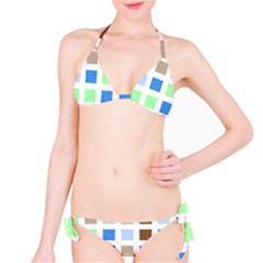 Colorful Green Background Tile Pattern Bikini Set by Amaryn4rt
