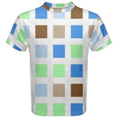 Colorful Green Background Tile Pattern Men s Cotton Tee