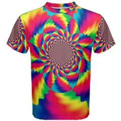 Colorful Psychedelic Art Background Men s Cotton Tee