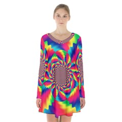 Colorful Psychedelic Art Background Long Sleeve Velvet V-neck Dress