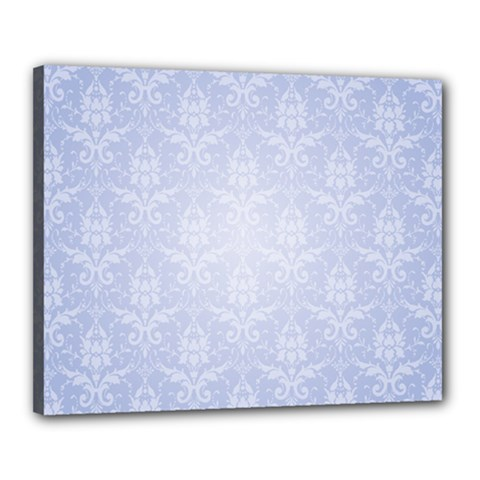 Damask Pattern Wallpaper Blue Canvas 20  X 16  by Amaryn4rt