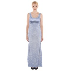 Damask Pattern Wallpaper Blue Maxi Thigh Split Dress by Amaryn4rt