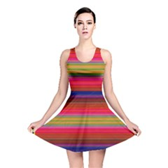 Fiesta Stripe Colorful Neon Background Reversible Skater Dress by Amaryn4rt