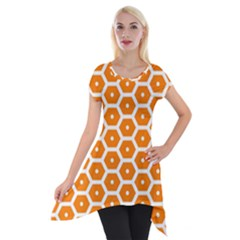 Golden Be Hive Pattern Short Sleeve Side Drop Tunic