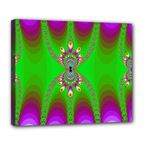 Green And Purple Fractal Deluxe Canvas 24  X 20   by Amaryn4rt