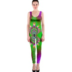 Green And Purple Fractal Onepiece Catsuit by Amaryn4rt