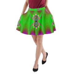 Green And Purple Fractal A Line Pocket Skirt