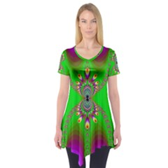 Green And Purple Fractal Short Sleeve Tunic  by Amaryn4rt