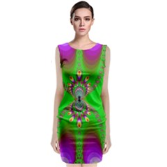 Green And Purple Fractal Classic Sleeveless Midi Dress by Amaryn4rt