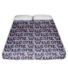 Welcome Letters Pattern Fitted Sheet (queen Size) by dflcprints