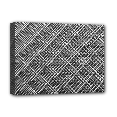 Grid Wire Mesh Stainless Rods Rods Raster Deluxe Canvas 16  X 12   by Amaryn4rt