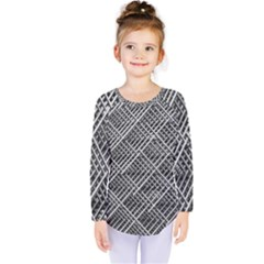 Grid Wire Mesh Stainless Rods Rods Raster Kids  Long Sleeve Tee by Amaryn4rt