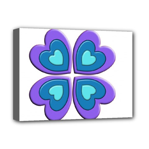 Light Blue Heart Images Deluxe Canvas 16  X 12   by Amaryn4rt