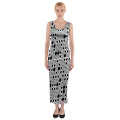 Metal Background Round Holes Fitted Maxi Dress by Amaryn4rt