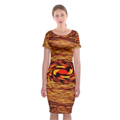 Orange Seamless Psychedelic Pattern Classic Short Sleeve Midi Dress