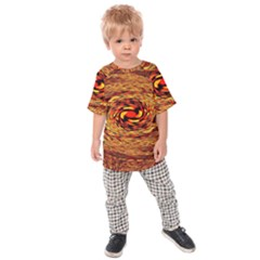Orange Seamless Psychedelic Pattern Kids  Raglan Tee