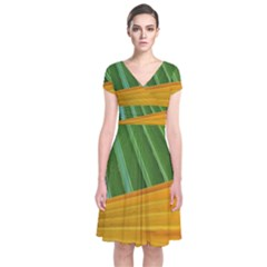 Pattern Colorful Palm Leaves Short Sleeve Front Wrap Dress
