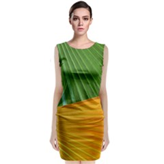 Pattern Colorful Palm Leaves Sleeveless Velvet Midi Dress