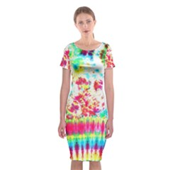 Pattern Decorated Schoolbus Tie Dye Classic Short Sleeve Midi Dress