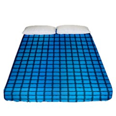 Seamless Blue Tiles Pattern Fitted Sheet (queen Size)