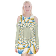 Tech Neon And Glow Backgrounds Psychedelic Art Psychedelic Art Velvet Long Sleeve Shoulder Cutout Dress