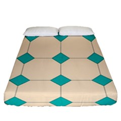 Tile Pattern Wallpaper Background Fitted Sheet (queen Size)