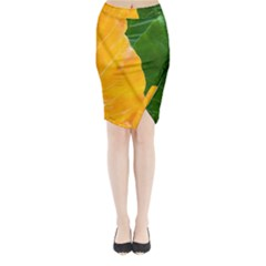 Wet Yellow And Green Leaves Abstract Pattern Midi Wrap Pencil Skirt