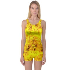 Yellow Abstract Background One Piece Boyleg Swimsuit